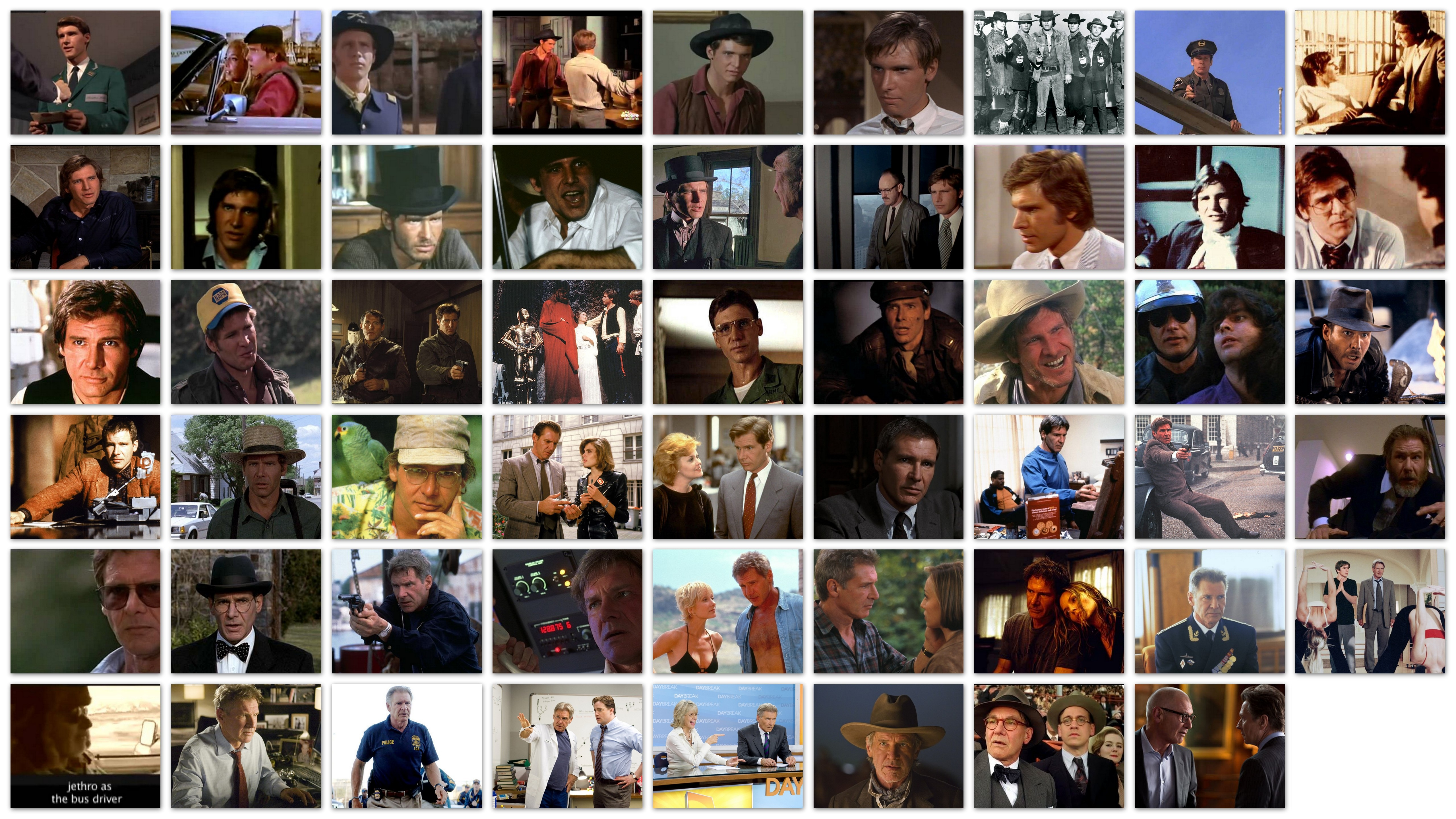 Overview of the roles of actor Harrison Ford in movies