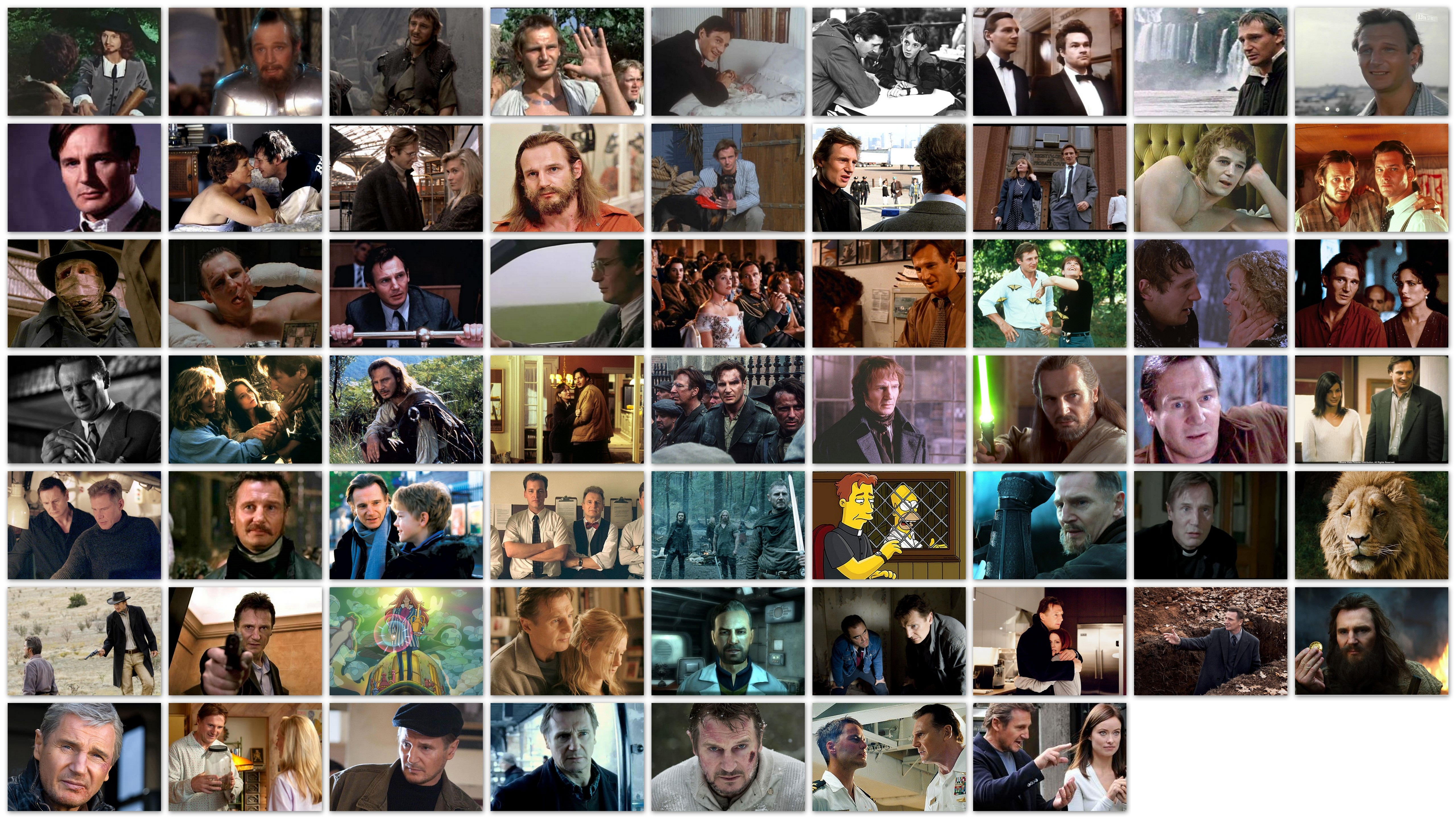 Overview of roles of actor Liam Neeson in his movies