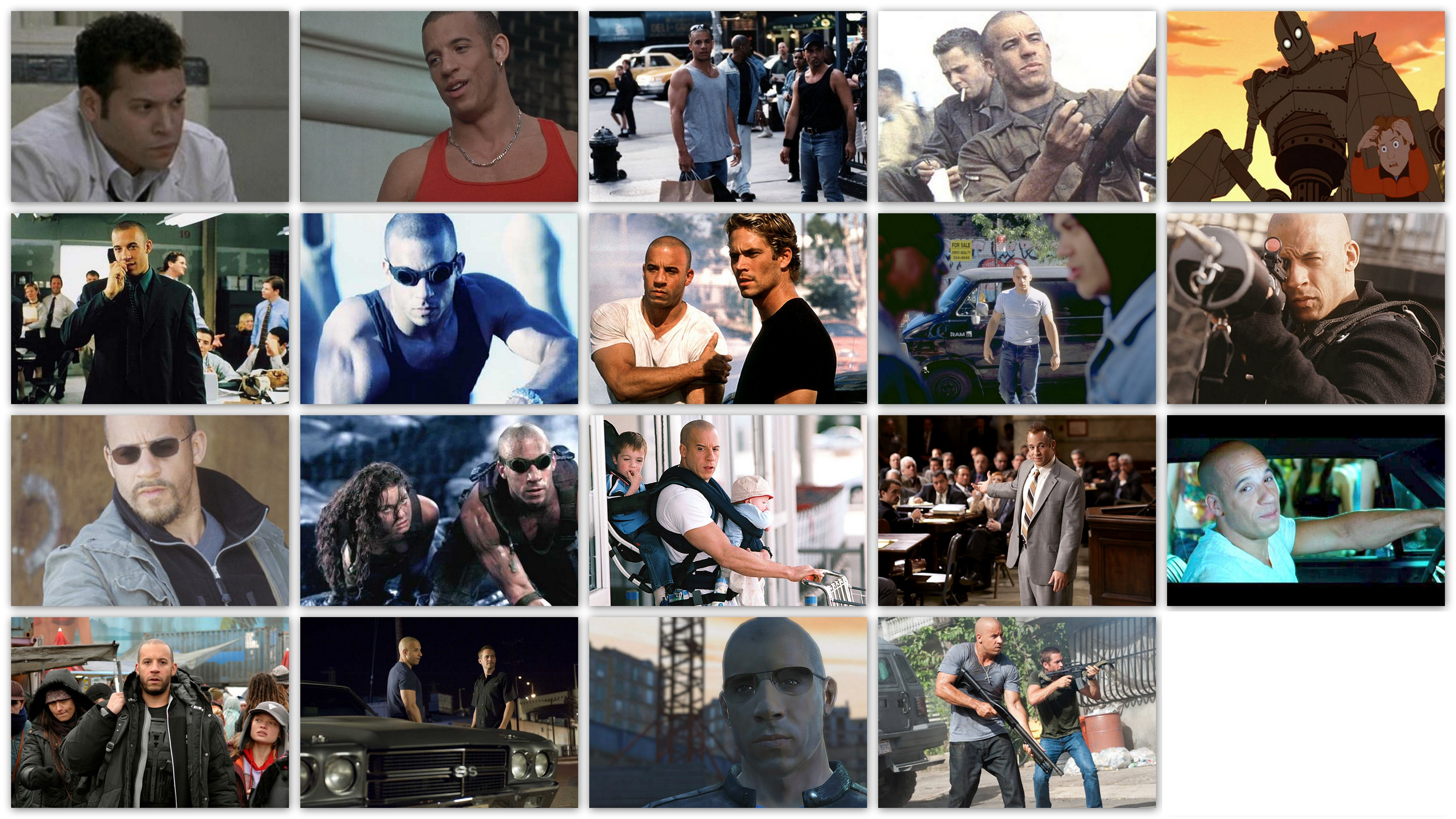 Overview of the roles of actor Vin Diesel in his movies