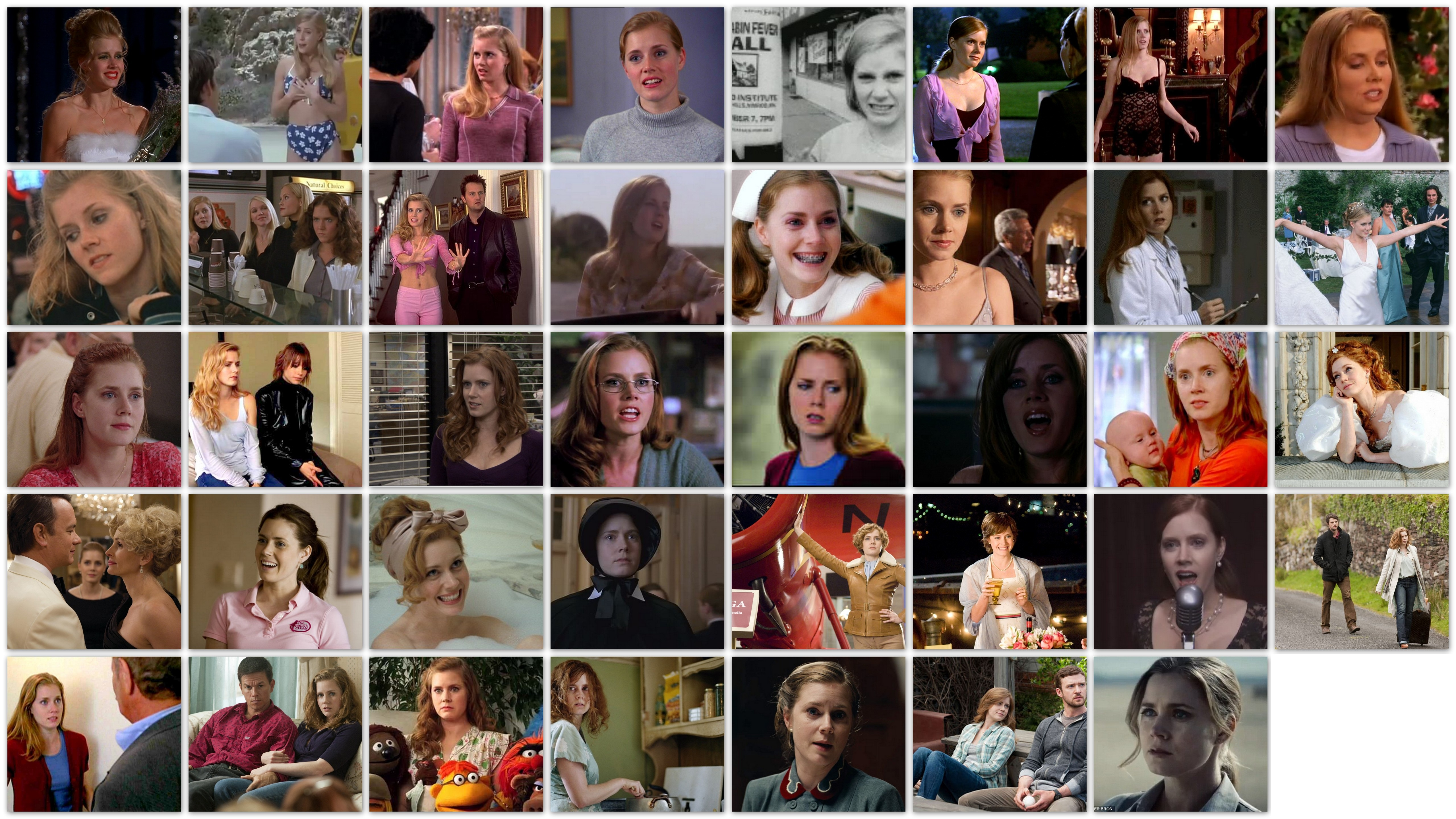 An overview in pictures of the roles of actress Amy Adams on TV and Movies