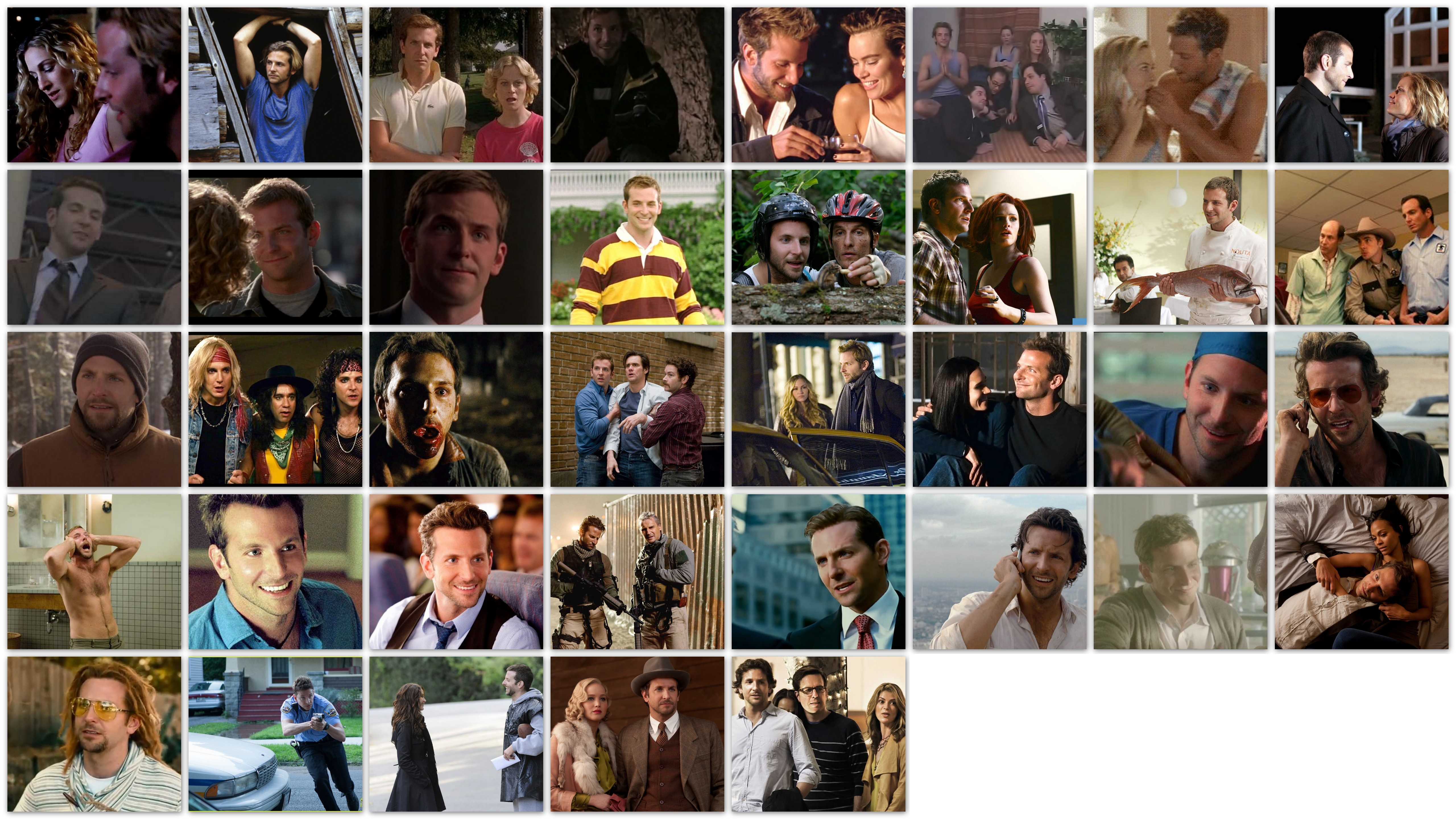 Overview of the roles of Bradley Cooper movies