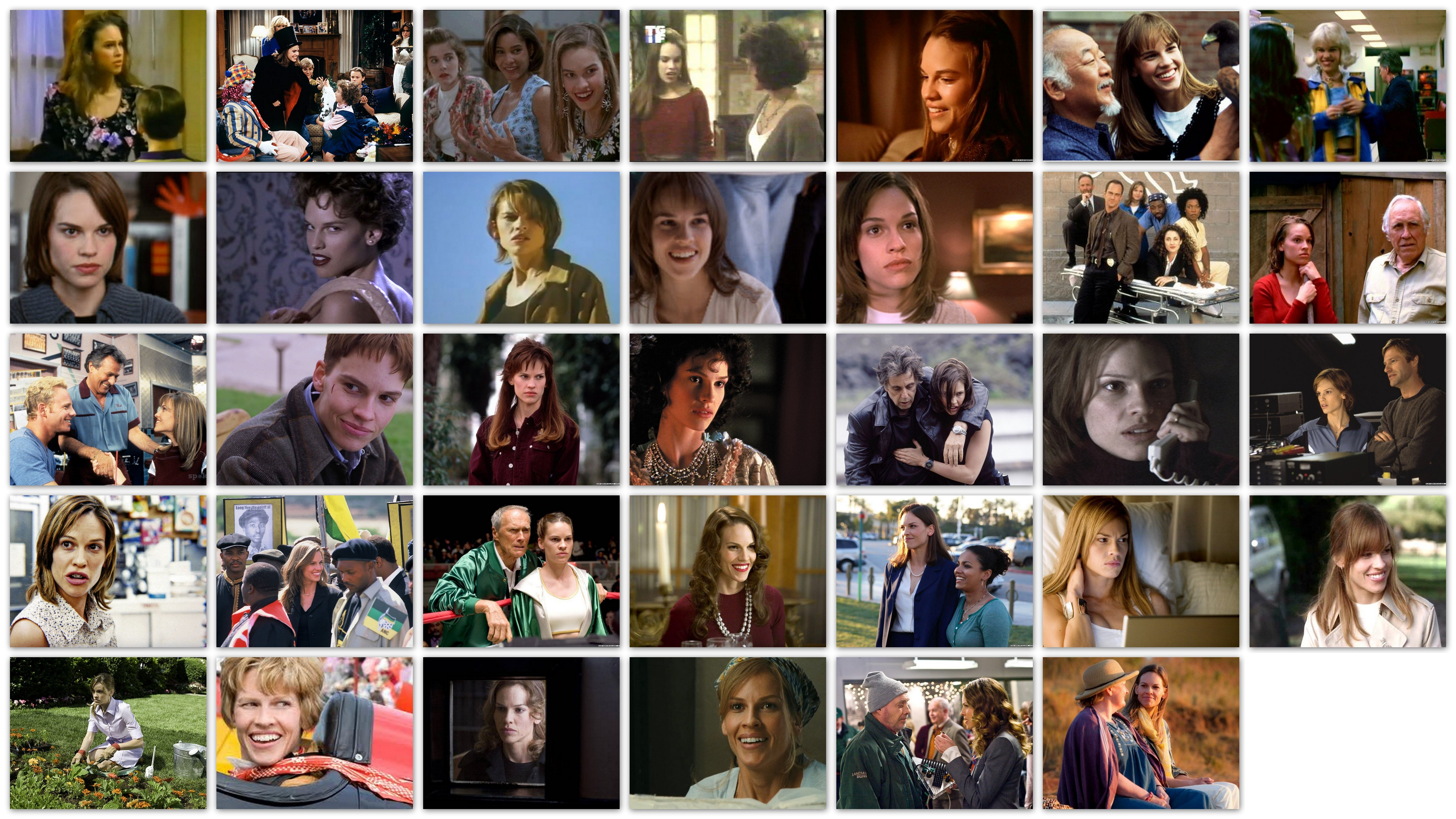 An overview in pictures of the roles of actress Hilary Swank, movie, movies, career