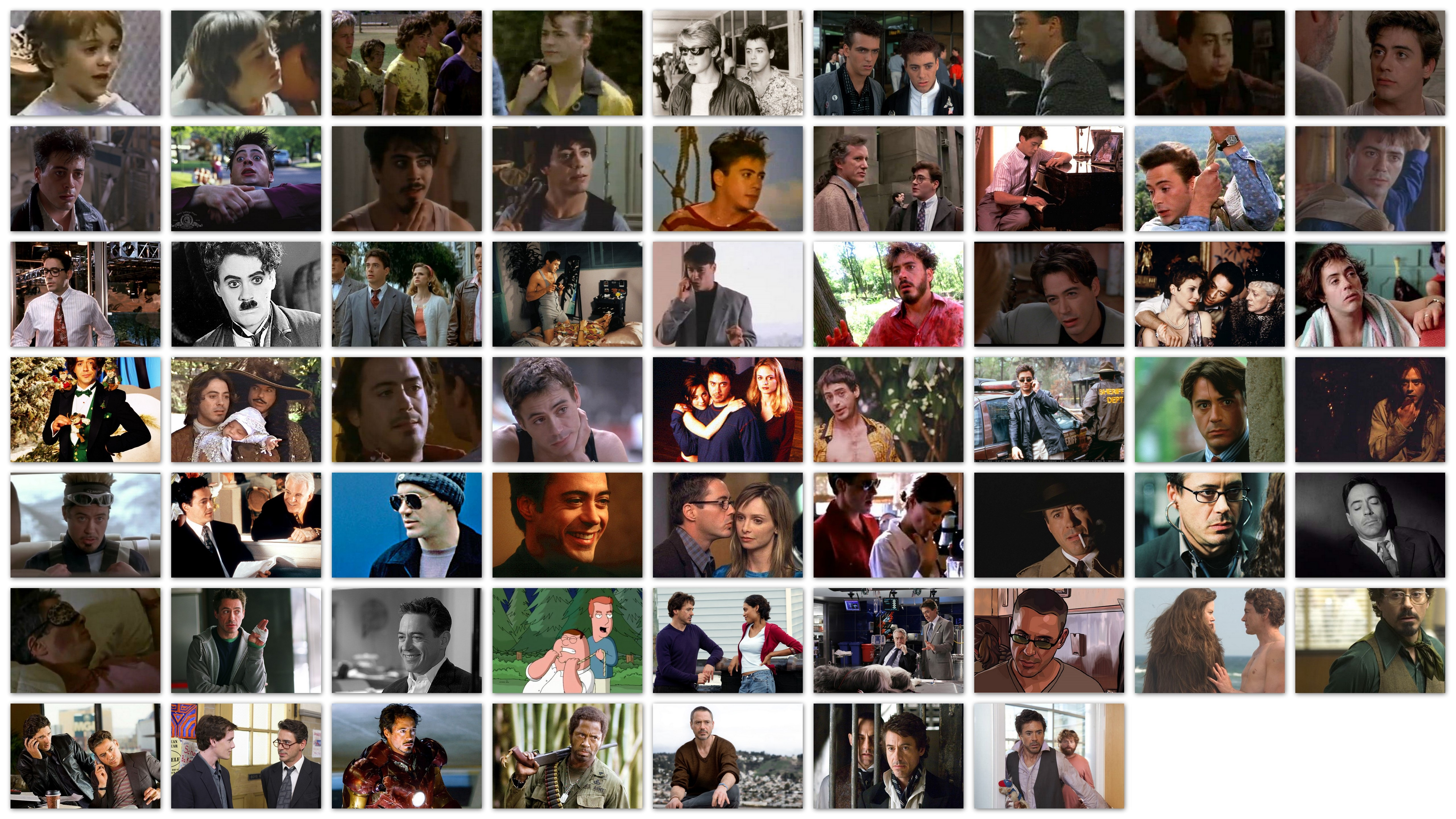 An overview in pictures of the roles of Robert Downey Jr.