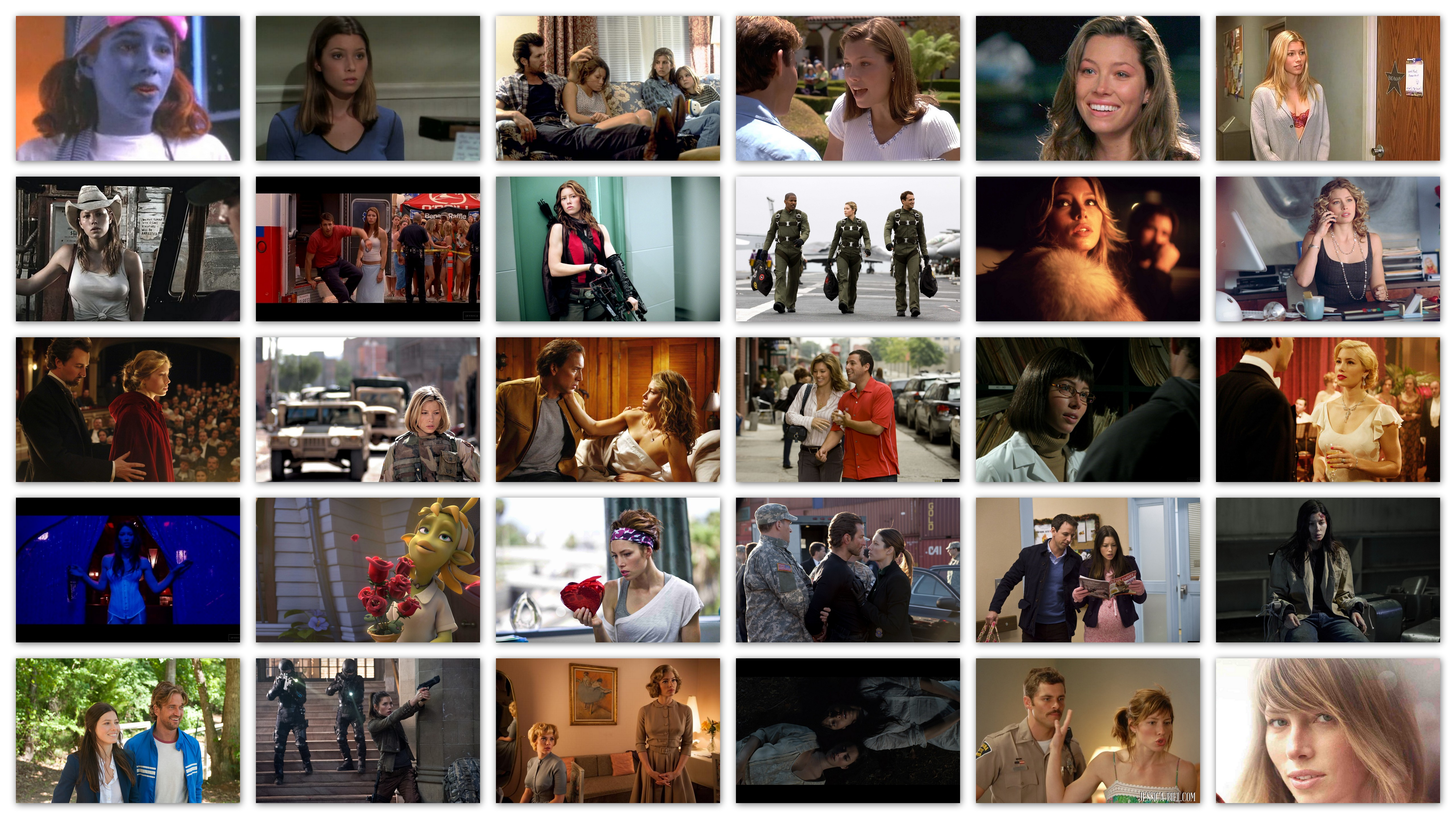 Overview in pictures of the roles and movies of Jessica Biel