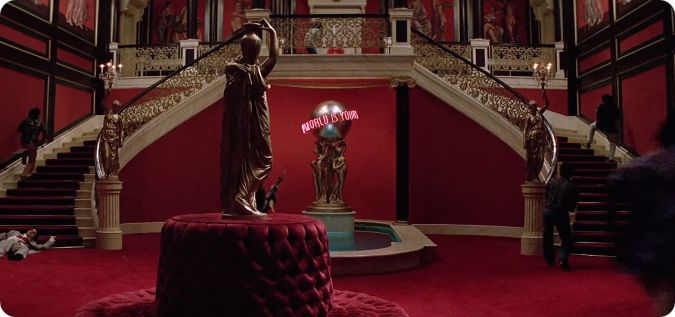 Making his money in the drug business in Miami  Al Pacino s character buys  this impressive house  The decoration is lavish  with its red colors. Places  Tony Montana s mansion   My Filmviews